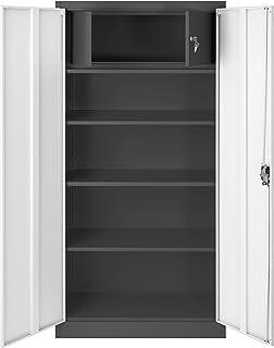 Jan Nowak by Domator24 C001D Lüllmann C001D-Armario archivador con Compartimento Secreto (Chapa de Acero, 185 x 90 x 45 c...