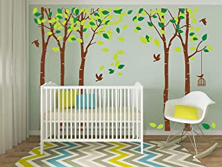 LUCKKYY Large Five Family Trees with Birds and Birdcage Tree Wall Decal Tree Wall Sticker Kids Room Nursery Bedroom Living Room Decoration (103.9x70.9)(Brown)