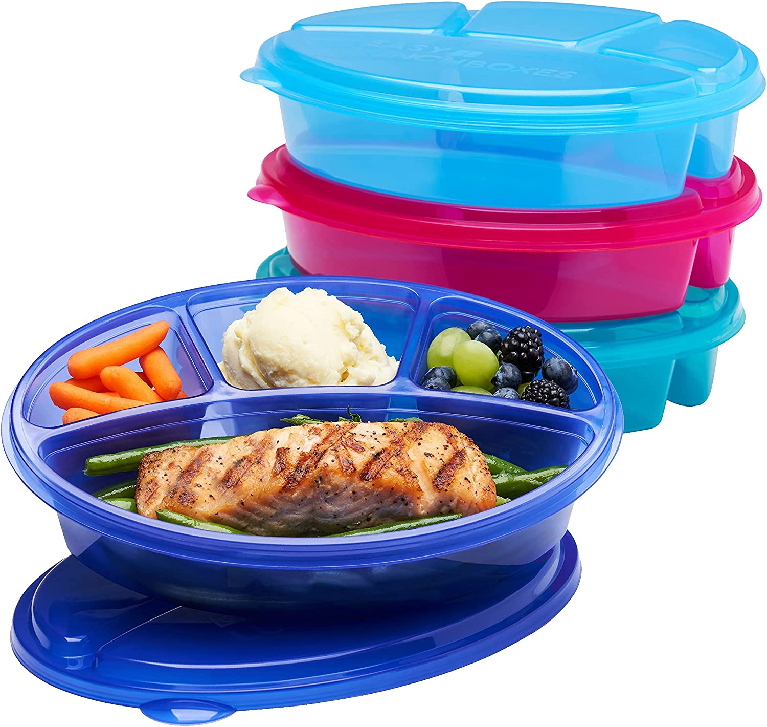 EasyLunchboxes - Oval Lunch Boxes - Reusable 4-Compartment Food Containers for Work, Travel and Meal Prep, Set of 4, (Jewel Brights)