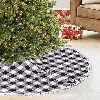 SevenFish 48 inch Buffalo Plaid Christmas Tree Skirt Black and White Buffalo Check Tree Skirt with Pom Pom for Christmas Decorations