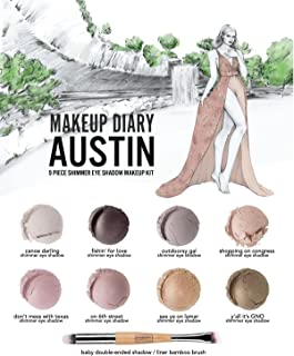 Everyday Minerals | Makeup Diary Austin Kit | Limited Edition | 9 Piece Shimmer Mineral Eye Shadow Kit | Bamboo Brush Included| 100% Vegan | Cruelty Free | Natural Mineral Makeup |