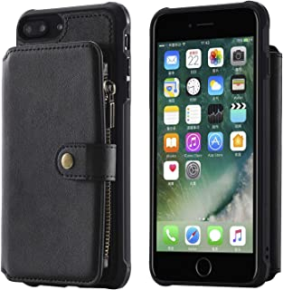 Case Compatible with iPhone 6plus 7+ iPhone 8P,Zipper Black Protective Cash Credit Card Holder Durable High Capacity Kickstand Cover Shell