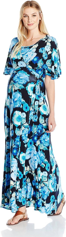Everly Grey Womens ASA Maternity and Nursing Wrap Maxi Dress Nursing Dress
