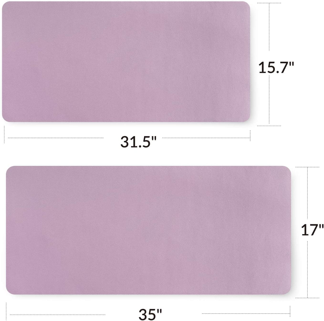 Bedsure Genuine Leather Desk Pad Waterproof Non Slip Lavender Mouse Desk Pad Protector for Office and Home Office Desk Mat Blotter on top of desks Purple, 15.7x31.5 inches Large Computer Desk Mat