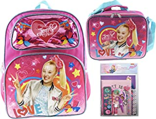 "Jojo Siwa 16"" Deluxe 3D Backpack & Matching Insulated Lunch Box PLUS 11 Piece Stationery Set"