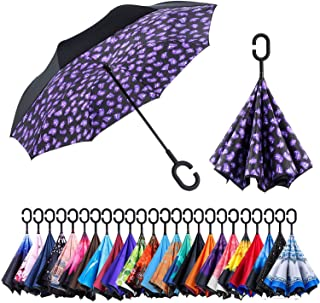 Reversible Umbrella – Dual Layer Inverted Umbrella, Self-Stand & C-Shape Hook to Free Hands, Reverse Inside Out Folding for Car Driver & Passenger, with Carrying Sleeve & PVC Zip Bag