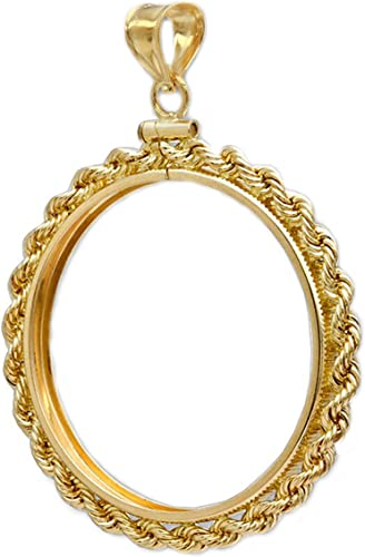 Details about  /14k solid Yellow gold 4-Prong Coin Bezel Frame $5.0 Indian Head /& Liberty  #7