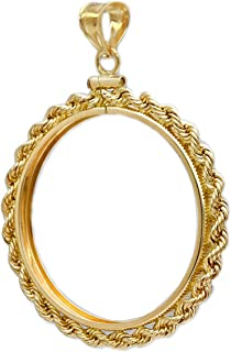 NA Flintski Jewelry Sacagawea Gold Dollar 1/20th Gold Filled Rope Coin Bezel Frame Mount Pendant