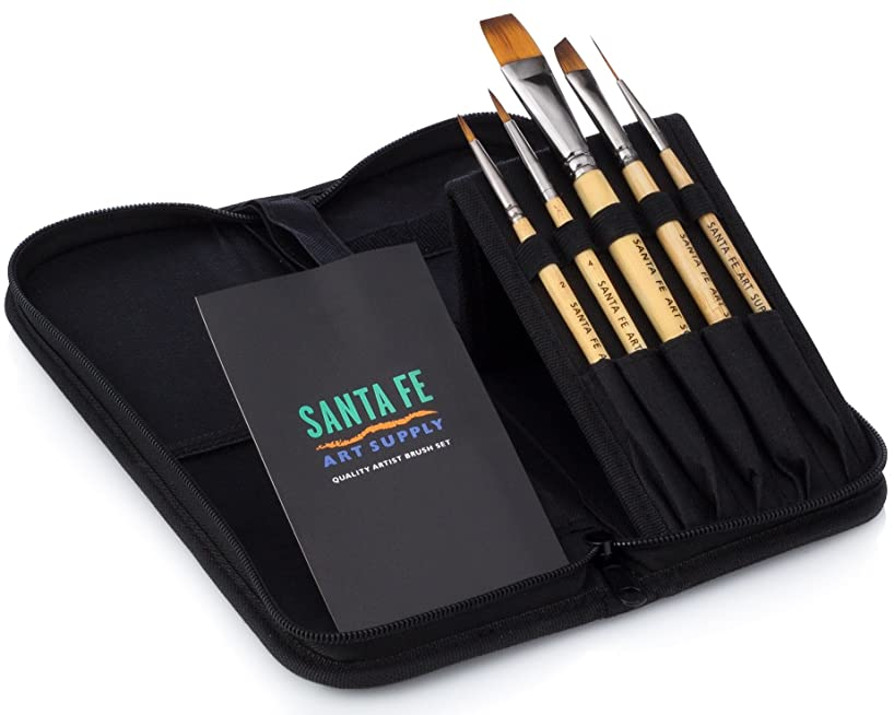 Paint Brush Set w/ Travel Carrying Case-Organizer 5 Bamboo Short Handle Paint Brushes. Perfect for Watercolor, Oil, Inking, Face, Creative Painting Art Brushes & Craft Supplies for Artists