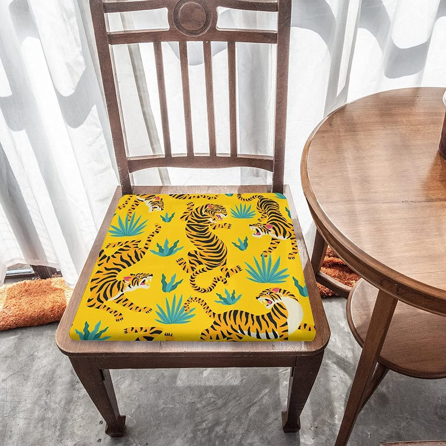 Tropical Animal Tiger on Yellow Cushio Outdoor Seat Austin Mall Indoor Super-cheap Chair