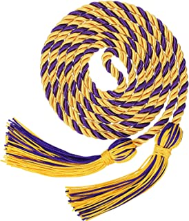 Graduation Honor Cords Tassels Cord Polyester Yarn Honor Cord for Bachelor Gown for Graduation Students (Gold with Purple)