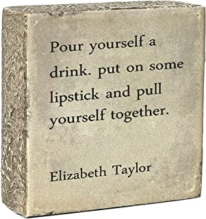 Desk box sign with famous sayings 3.9 x 3.9-Inches,Home and Wall Farmhouse Decor(Pour yourself a drink)