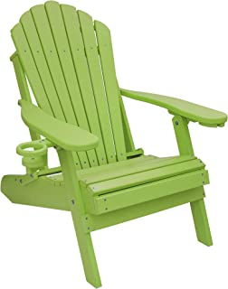 ECCB Outdoor Outer Banks Deluxe Oversized Poly Lumber Folding Adirondack Chair (Lime)