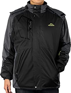 4How Men's Hooded Mountain Ski Jacket Waterproof Winter Coat