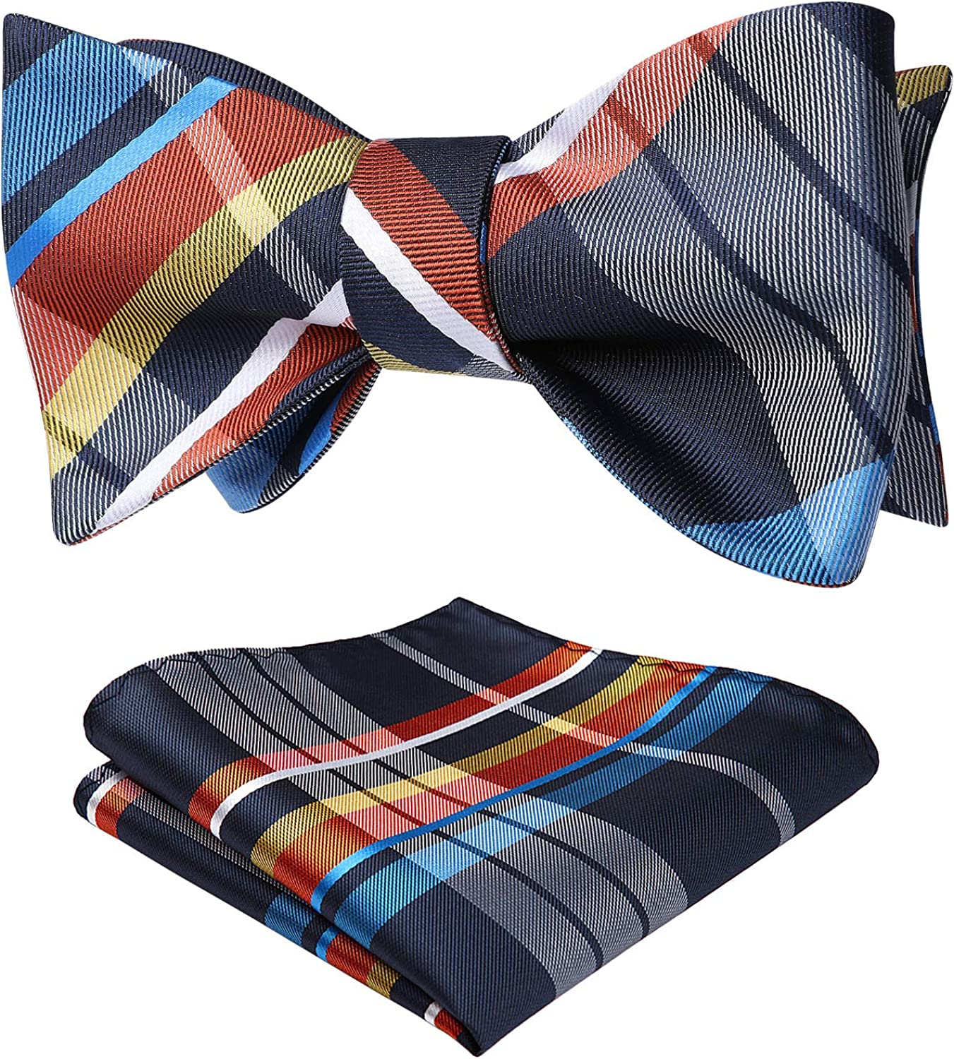 25% OFF Bow Ties for Men Check High material Plaid Self Pocket and Tie Square