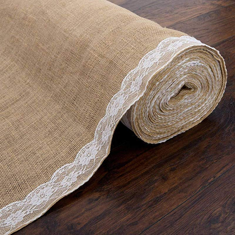 AK Trading 40 Wide Natural Burlap Wedding Aisle Runner With Ivory Lace 40 Wide X 50 Feet Long