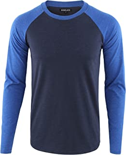 Men's Casual Basic Active Sports Raglan Long Sleeve Baseball T-Shirt
