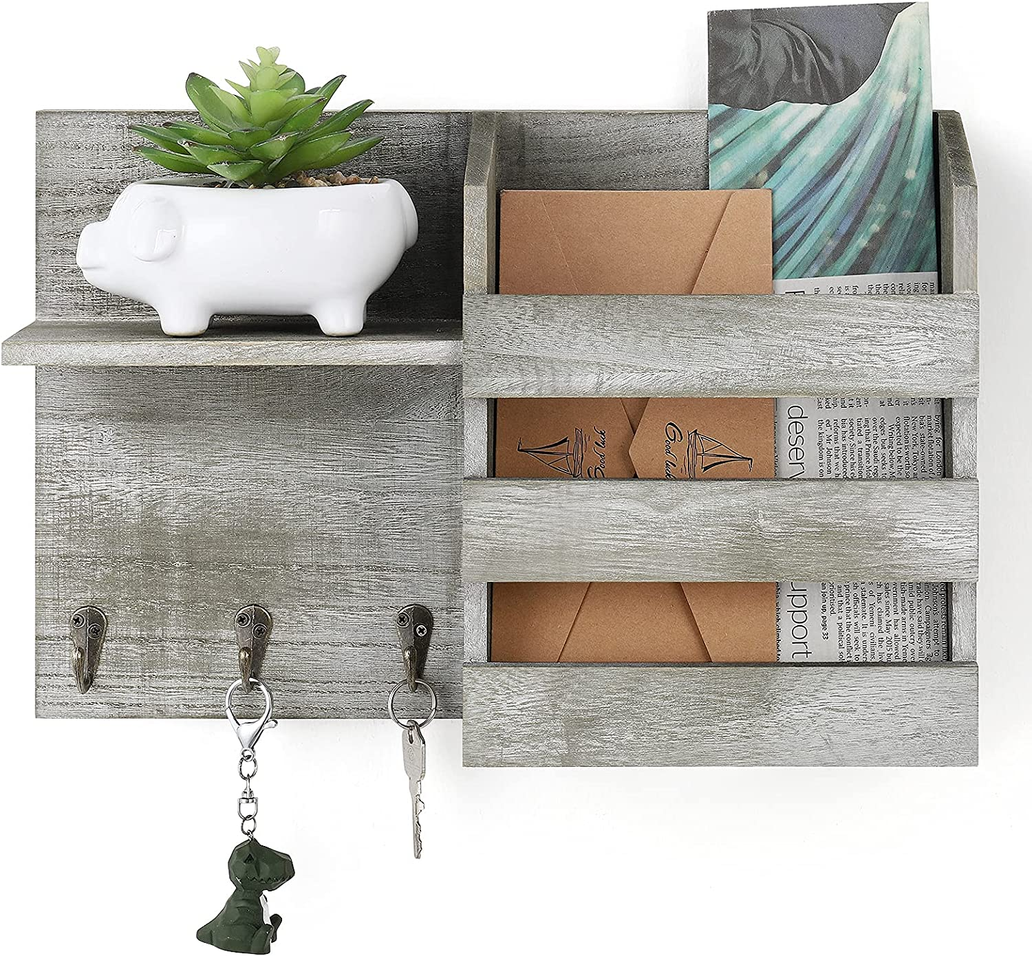 Rustic Mail Holder with Key Hook Rack, Wall Mount Mail Envelope Storage Organizer Wooden Mail Sorter for Magazine Newspaper Bills, Wall Decor for Entryway, Mudroom, Hallway, Office,Olive Green