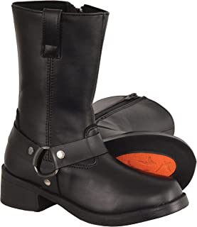 Milwaukee Leather Boy's Youth Classic Harness Biker Boots (Black, Size 5.5)