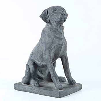 "Winsome House 16.9"" Gray Labrador Retreiver Dog on Rectangular Base Garden Statue"