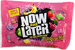 Now and Later (1) bag Original Mix Mixed Fruit Chews 5 Flavors - Apple, Banana, Strawberry, Cherry, Grape - Individually Wrapped 8 oz