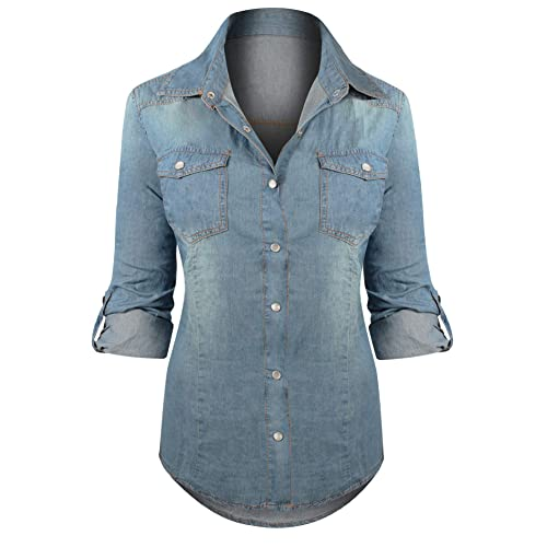 8fe119719 HOT FROM HOLLYWOOD Women's Button Down Roll up Sleeve Classic Denim Shirt  Tops