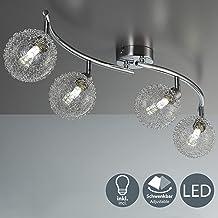 Lámpara de techo de barra con 4 x 3,5 W bolas de cristal, luz de techo moderna de metal incl 4 bombillas LED G9, Orientable y giratoria 230 V IP20 3000K