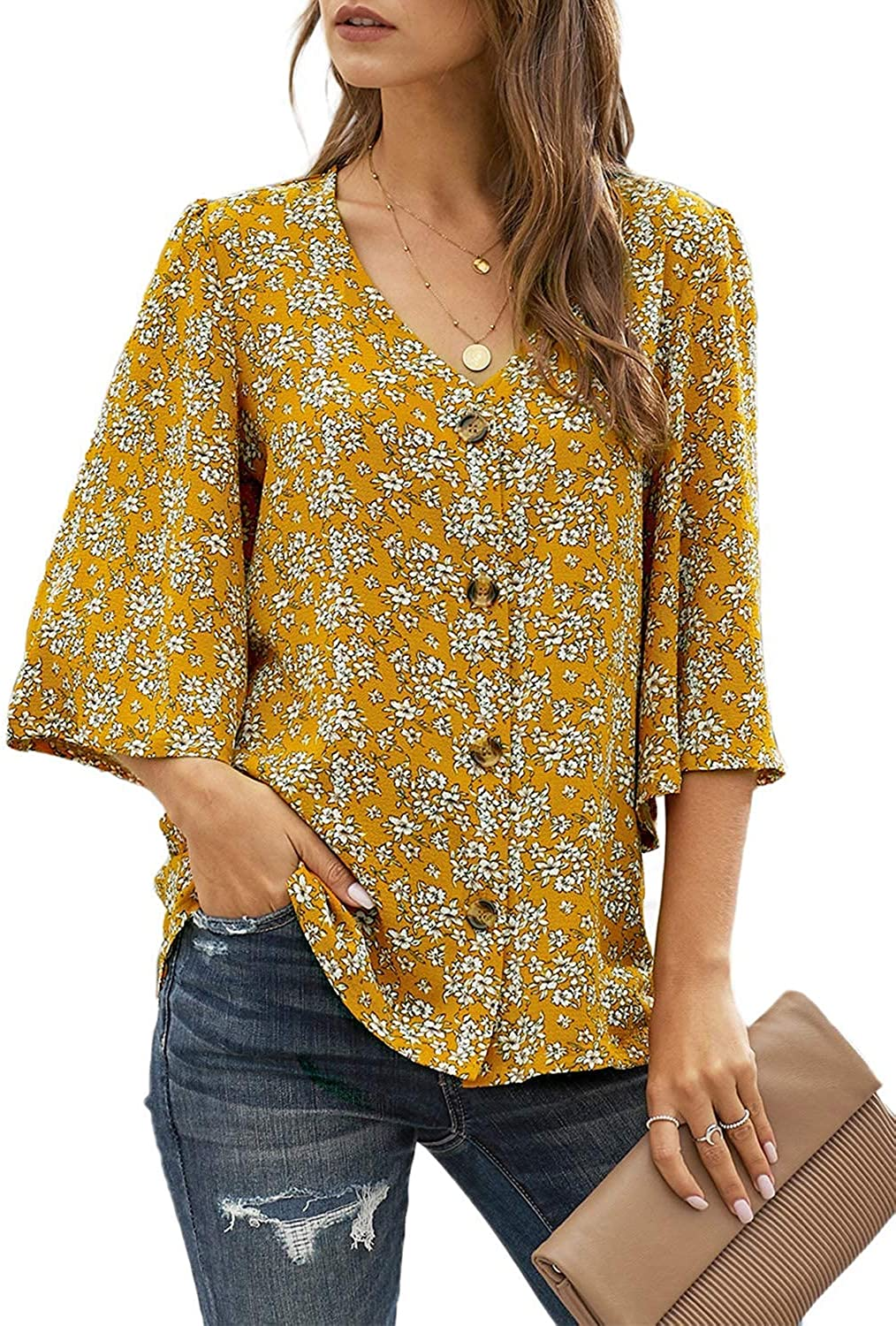 Ecrocoo Women's Casual 3/4 Tiered Bell Sleeve V Neck Print Button Down Loose Tops Blouses Shirt