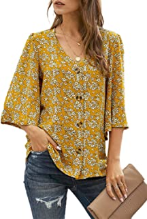 Women's Casual 3/4 Tiered Bell Sleeve V Neck Print Button...