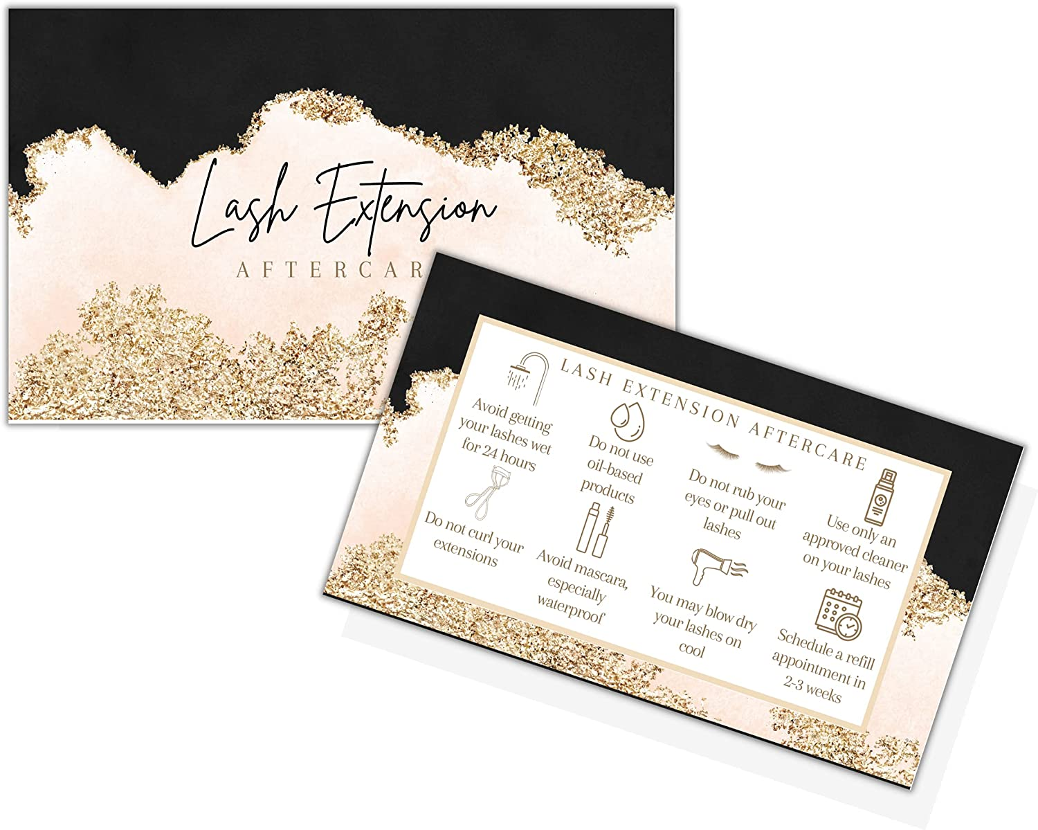 Lash Extension Aftercare Instructions Cards 2x3.5