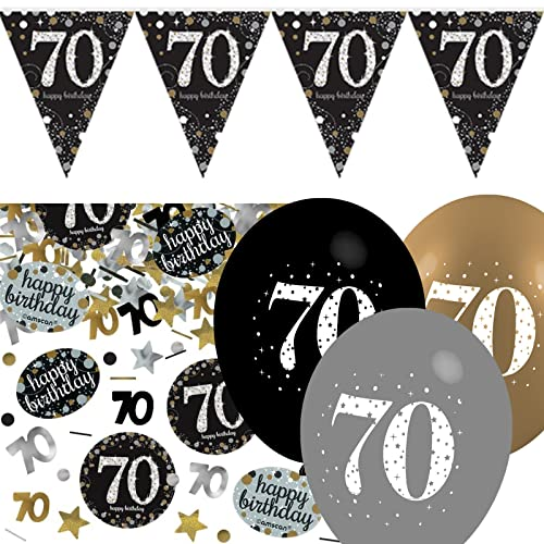 Black Silver Gold 70th Birthday Celebration Party Flag Banner Decoration Pack Kit Set
