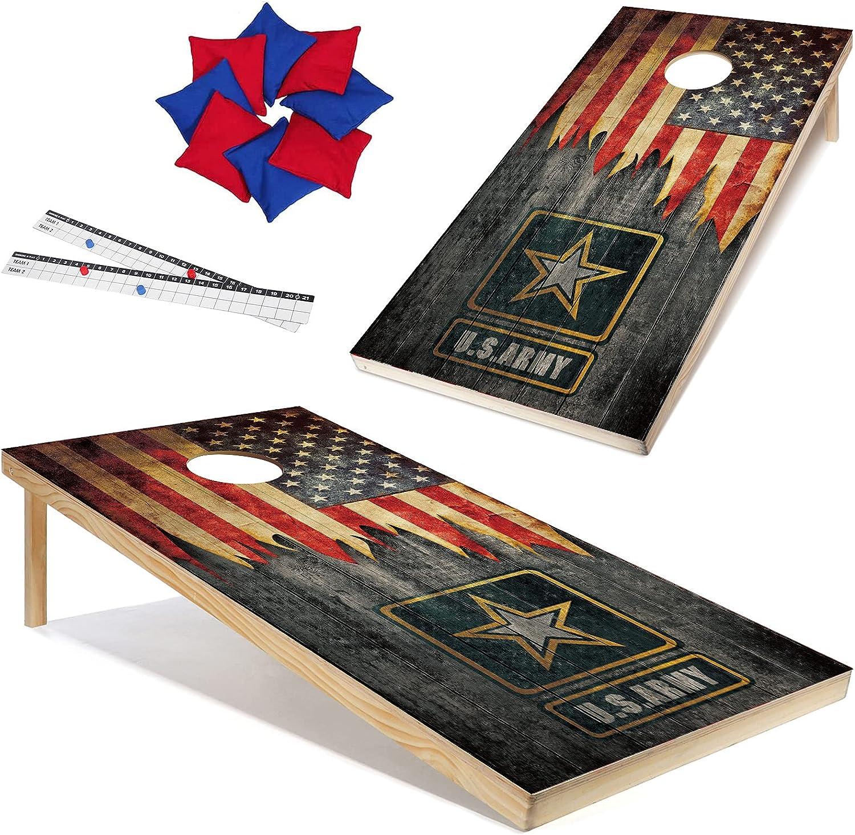 Solid Wood Ranking TOP9 Cornhole Board New item Set Backyard Scoreboa N Play Exercise