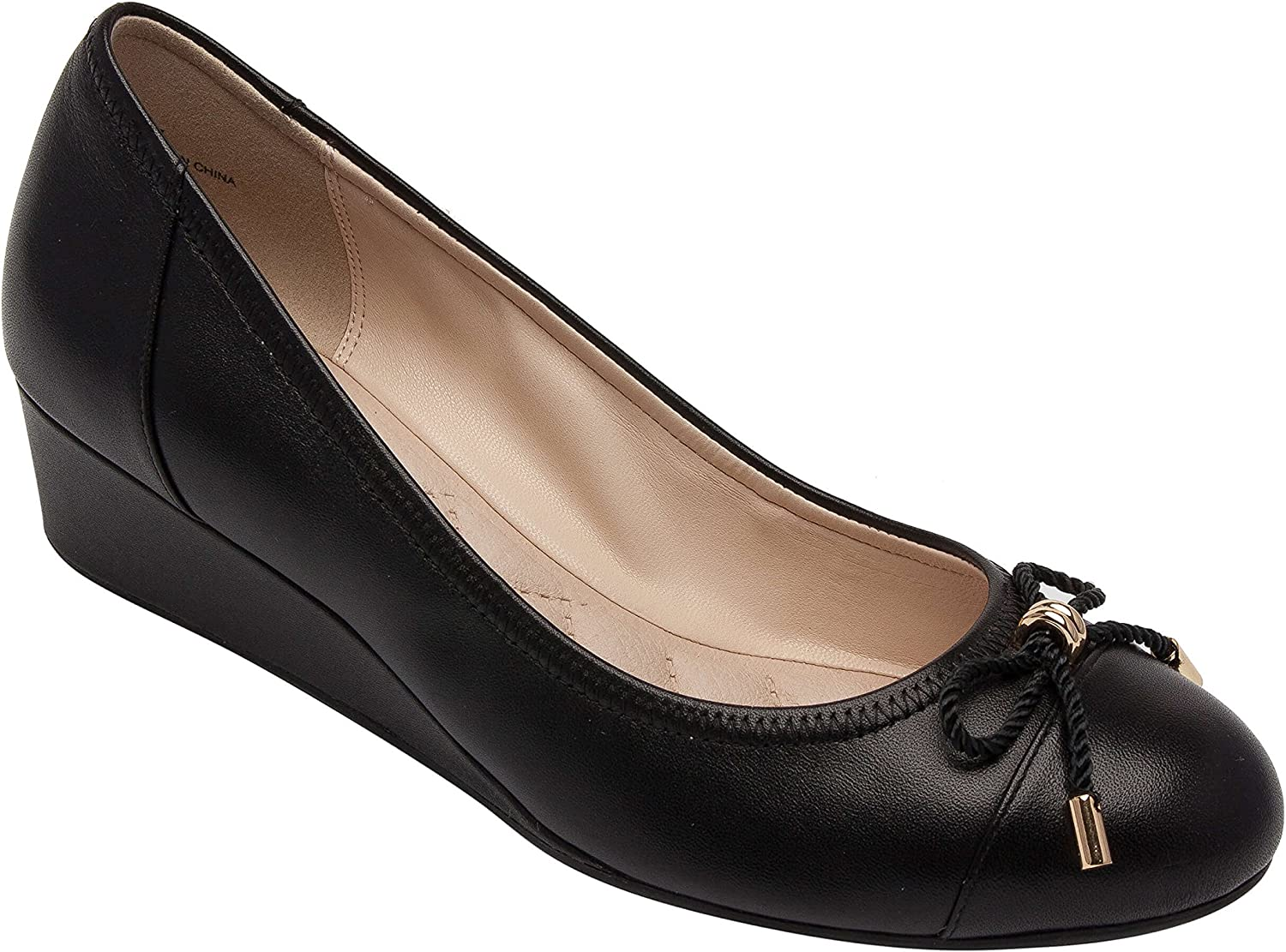 Pic & Pay Tiana   Women's Rope Bow Mid-Height Comfortable Round Toe Wedge Pump Black Leather 11M