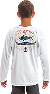 Best SAND.SALT.SURF.SUN. Colorful Rather Be Fishing Youth UPF 50+ UV Sun Protection Performance Long Sleeve T-Shirt Review