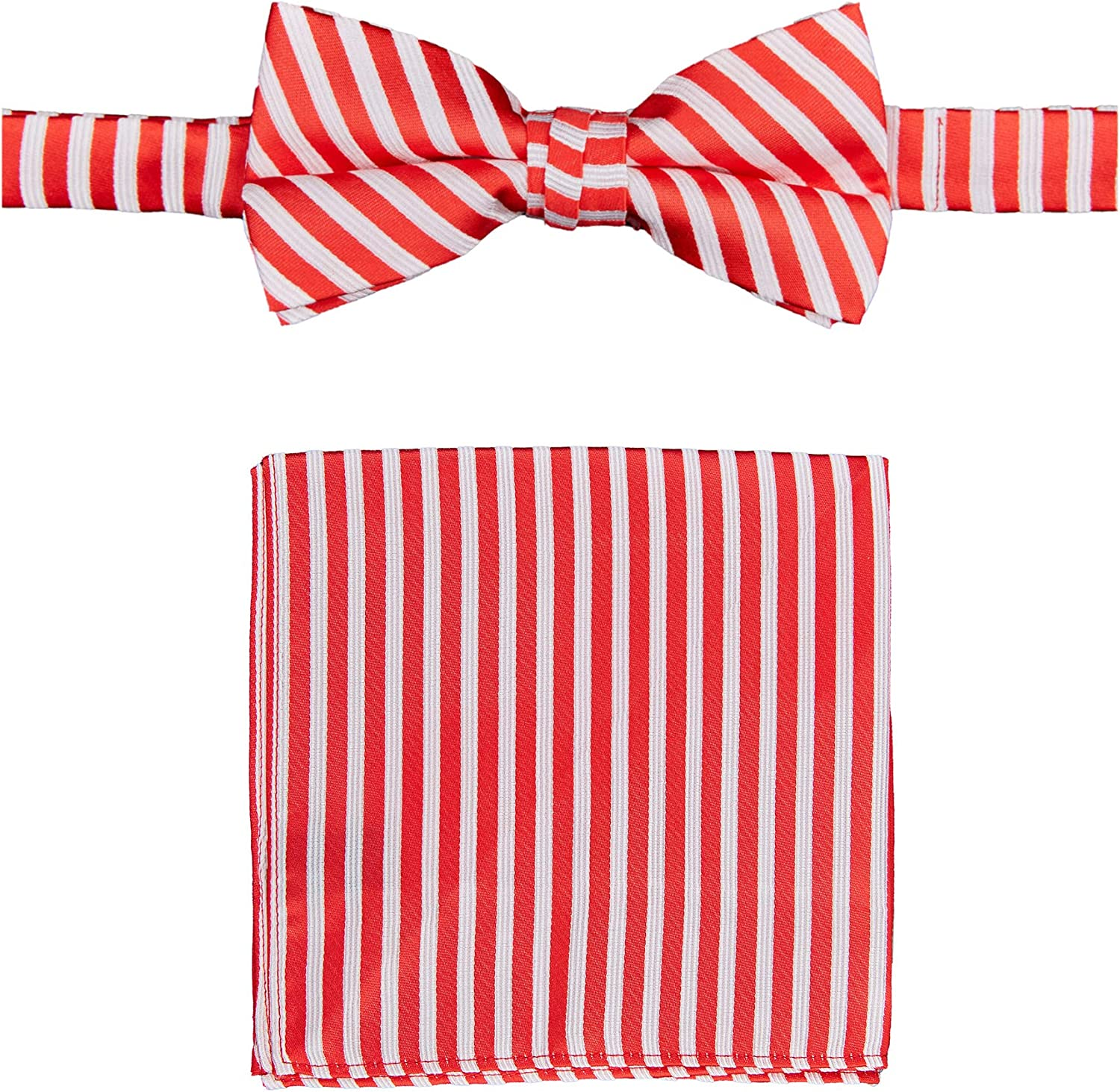 Jacob Alexander Christmas Candy Cane Red White Stripe Men's Pre-Tied Banded Bow Tie and Pocket Square Set