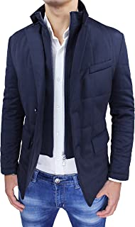 Giubbotto Giacca Uomo Invernale Blu Scuro Elegante Giaccone Piumino Sartoriale