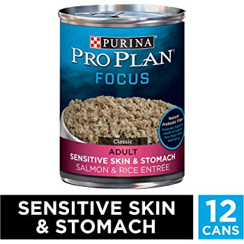 Purina Pro Plan Sensitive Stomach Pate Wet Dog Food, FOCUS Sensitive Skin & Stomach Salmon & Rice Entree - (12) 13 oz. Cans