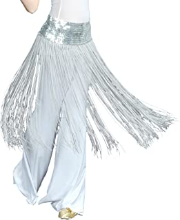BellyLady Belly Dance Hip scarf, Sequined Fringe Skirt Wrap, Christmas Idea