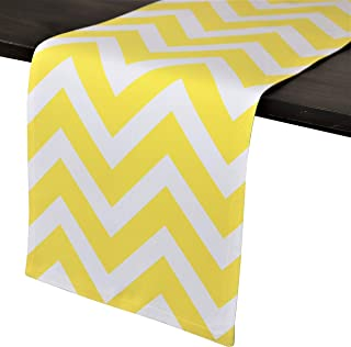 Crabtree Collection Double Sided Table Runners - (12 x 90, Dandelion Yellow Chevron/Trellis)