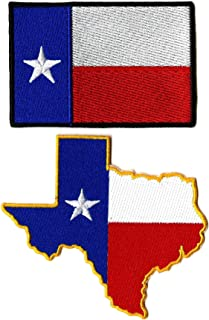 Texas State Flag Patch Die Cut | TX Iron or Sew on Embroidered Patches | 2pc. Set (3.5