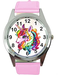 DREAMWATCH Unicorn Pink Real Leather Band Quartz Watch E1+Free Spare Battery+Free Gift Bag