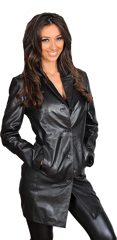 Ladies Real Leather Jacket Womens 3 4 Length Fitted Sheepskin Coat Rachel Black