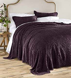Wedding Ring Tufted Chenille King Bedspread, Eggplant
