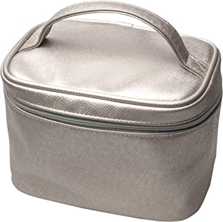 Titania Golden Fabric Cosmetic Bag - Premium Toiletry & Vanity Pouch w/Zipper, Inside Pocket, Handle & Tunnels For Brushes - Large Travel Organizer For Storing Beauty Essentials & Makeup