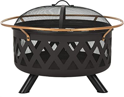 Safavieh PIT2003A Outdoor Collection Bryce Copper and Black Round Fire Pit