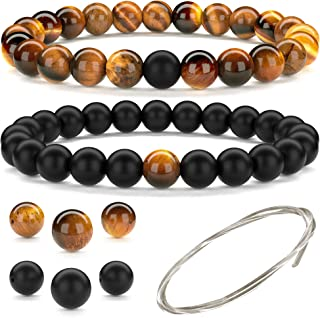 Beaded Gemstone Bracelets for Men and Women: Lava, Onyx and Tiger Eye Bracelet Sets with Spare Beads and Stretch Cord - Me...