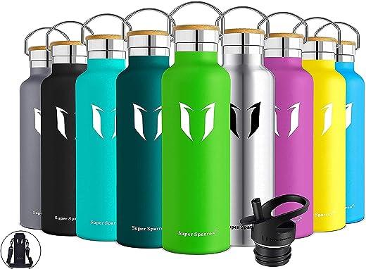 Super Sparrow Trinkflasche Edelstahl – 350ml, 500ml, 750ml, 1L – Auslaufsicher Thermoskanne, BPA-Frei Wasserflasche – Kohlensäure Thermosflasche…
