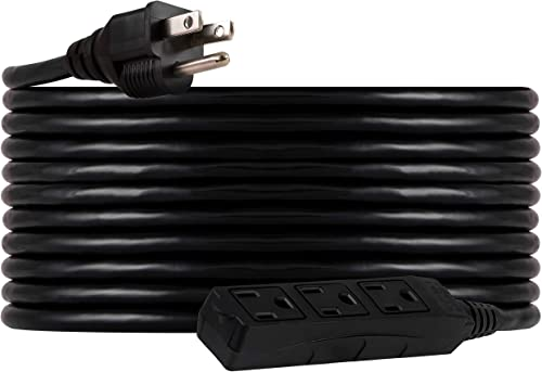 UltraPro, Black, GE 25 ft Extension, 3 Outlet, Indoor/Outdoor, Grounded, Double Insulated Cord, UL Listed, 36825