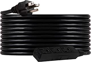 UltraPro, Black, GE 25 ft Extension, 3 Outlet, Heavy Duty, Indoor/Outdoor, Grounded,..