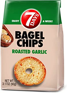 7Days Bagel Chips, Roasted Garlic, No Artificial Ingredients | GMO-Free Snack | (3.17oz, Pack of 5)